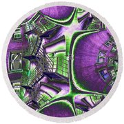 Fire Escape Fractal Round Beach Towel