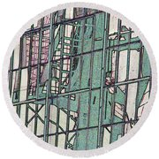Fire Escape Reflection Round Beach Towel