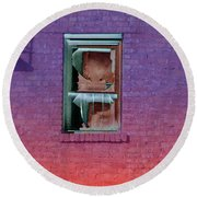 Fire Escape Window 2 Round Beach Towel