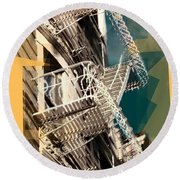 Fire Escapes In White And Gold Round Beach Towel