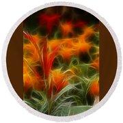Fire Flowers 5227 Round Beach Towel