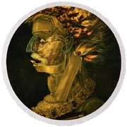 Fire Round Beach Towel by Giuseppe Arcimboldo