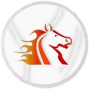 Fire Horse Round Beach Towel