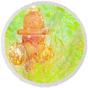 Fire Hydrant Watercolor Round Beach Towel