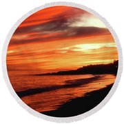Fire In Sky Round Beach Towel