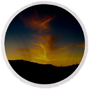 Fire In The Night Round Beach Towel