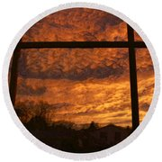 Fire In The Sky 2 Round Beach Towel