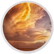Fire In The Sky Round Beach Towel by Dave Bowman