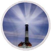 Fire Island Lighthouse Twilight Round Beach Towel