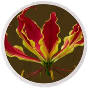 Fire Lily Round Beach Towel