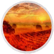 Fire Of A New Day Round Beach Towel