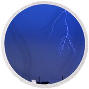 Fire Rescue Station 67  Lightning Thunderstorm 2c Round Beach Towel