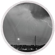 Fire Rescue Station 67  Lightning Thunderstorm Black And White Round Beach Towel