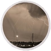 Fire Rescue Station 67  Lightning Thunderstorm Sepia Black And W Round Beach Towel