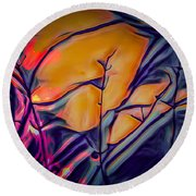 Fire Ring Sunset Round Beach Towel