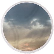 Fire Sky Sunset With Moon Round Beach Towel