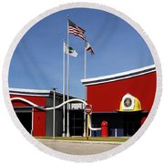 Fire Station Disney Style Round Beach Towel