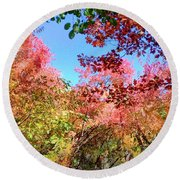 Fire Top Trees Round Beach Towel