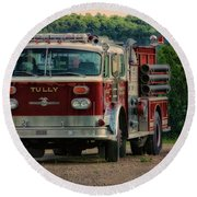Fire Truck  Engine 13 Village Of Tully New York Pa Round Beach Towel