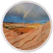 Fire Wave Rainbow Dawn Round Beach Towel