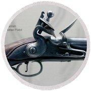Firearms 1746 British Flintlock Horse Pistol Round Beach Towel