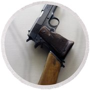 Firearms 1917 Colt Model 1911 Semi Auto 45cal With Shoulder Stock Round Beach Towel