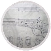 Firearms Lever Action Rifle Drawing Round Beach Towel