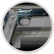 Firearms Smith And Wesson 1911 Semi Auto 45cal Pearl Handle Pistol Round Beach Towel