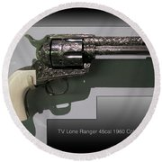 Firearms Tv Lone Ranger 45cal 1960 Colt Army Revolver Round Beach Towel