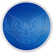 Firebird Blueprint Round Beach Towel