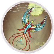 Firebird With Sun And Moon Round Beach Towel