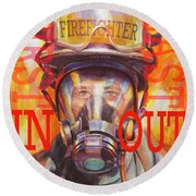 Firefighter Round Beach Towel