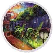 Fireflies In Woodfin Round Beach Towel