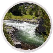 Firehole Canyon 2 Round Beach Towel