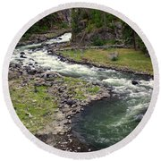 Firehole River 2 Round Beach Towel