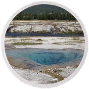 Firehole River And Pool Round Beach Towel