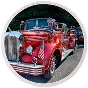 Fireman - 1949 And It Still Runs  Round Beach Towel