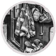 Fireman - Always Ready - Black And White Round Beach Towel