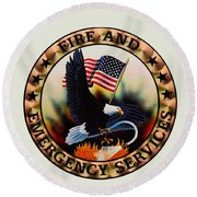 Fireman - Fire And Emergency Services Seal Round Beach Towel