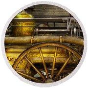 Fireman - Piano Engine - 1855  Round Beach Towel by Mike Savad