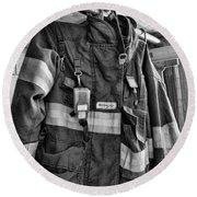 Fireman - Saftey Jacket Black And White Round Beach Towel