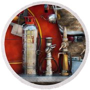 Fireman - An Assortment Of Nozzles Round Beach Towel