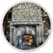 Fireplace At The Lodge Vertical Round Beach Towel
