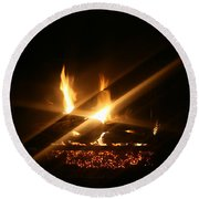 Fireplace Round Beach Towel