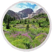 Fireweed Frenzy Round Beach Towel