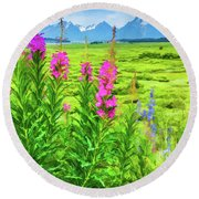 Fireweed In The Foreground 2 Round Beach Towel