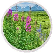 Fireweed In The Foreground Round Beach Towel