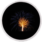 Firework Blue And Gold Round Beach Towel