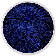 Firework Blues Round Beach Towel