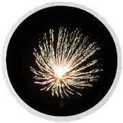 Firework White Fluff Round Beach Towel